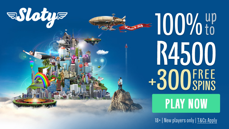 Enter the City of Slots With Sloty Casino R4,500 Bonus & 300 Free Spins