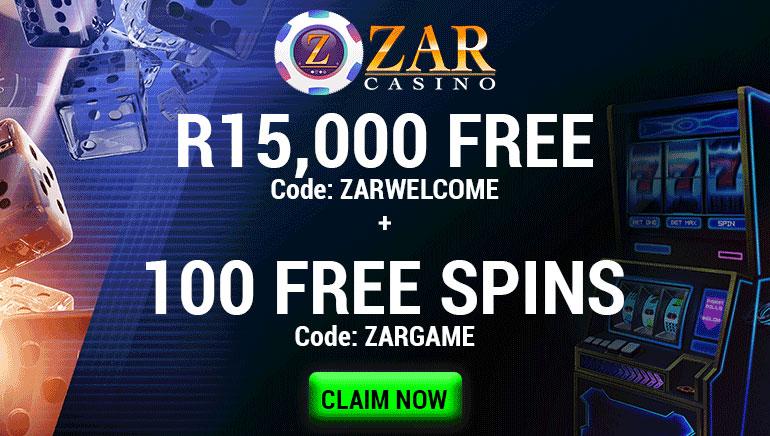 ZAR Casino - R15,000 Free, Code: ZARWELCOME + 100 Free Spins Code: ZARGAME